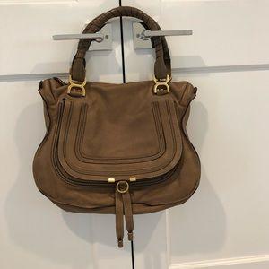 Chloe Marcie Large Leather Shoulder Bag NUT color
